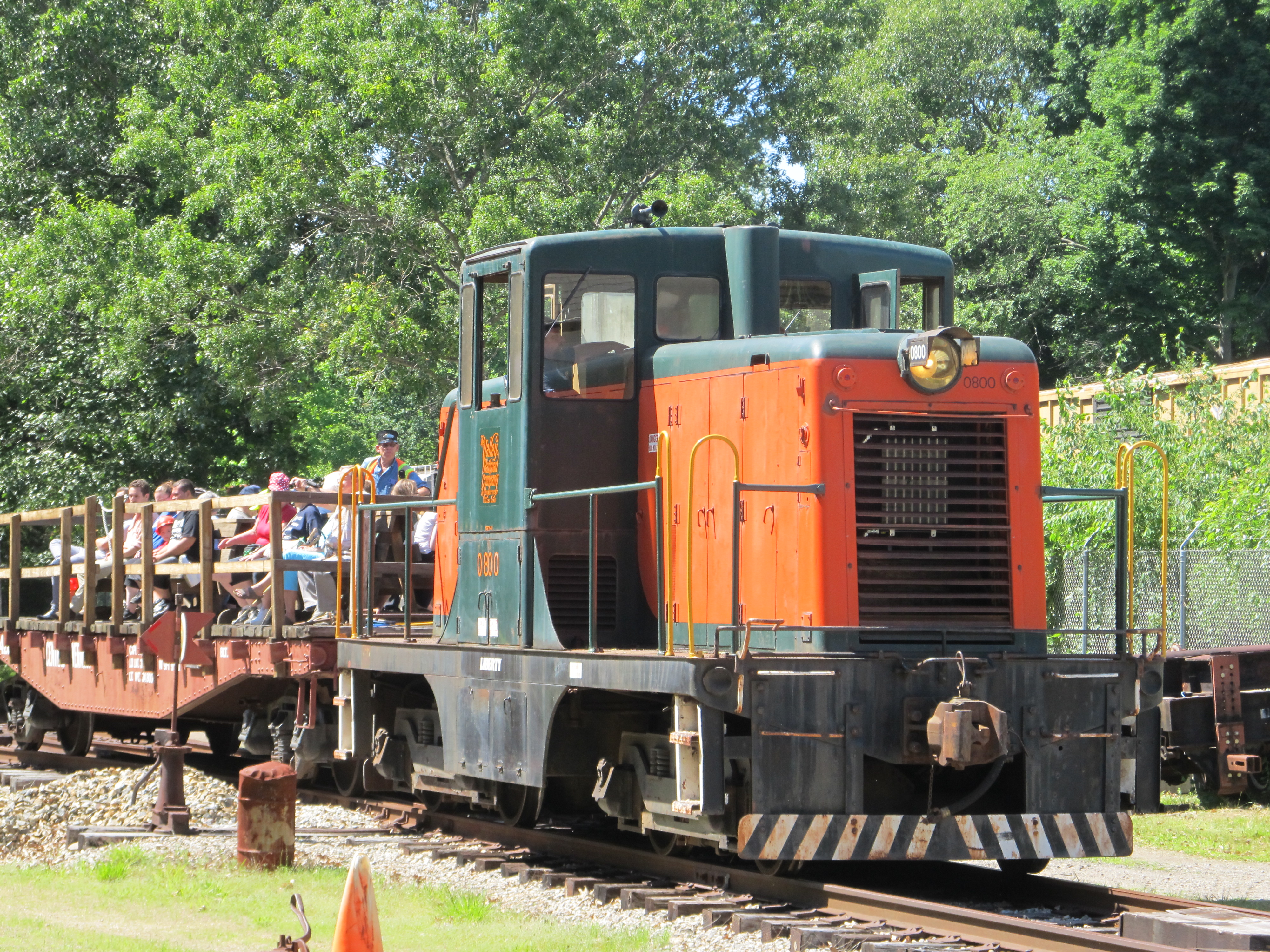 Train with happy passengers behind 0800, our GE 44 ton diesel. Photo copyright Pieter Roos
